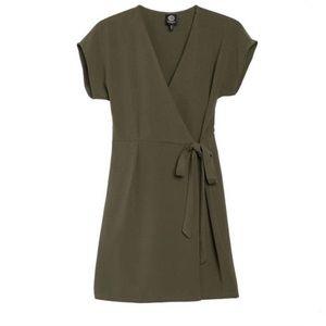Bobeau Crepe Wrap Dress Green Large Nordstrom